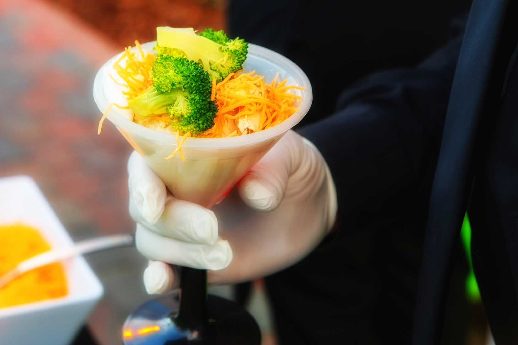 caterer hors d'oeuvres in a martini cup
