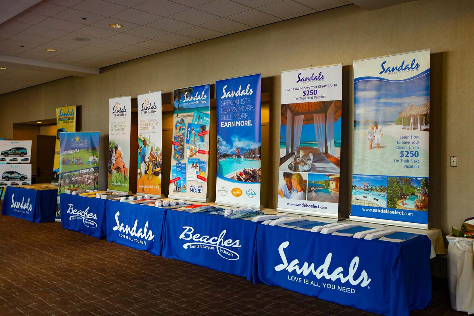 Sandals corporate event displays